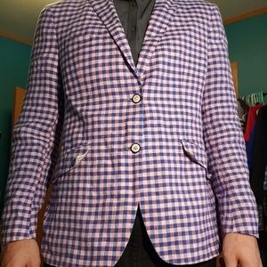 Mens Tallia Orange Pink Plaid/Paisley Blazer